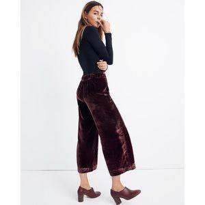Madewell Huston Burgundy Velvet Pull On Crop Pants